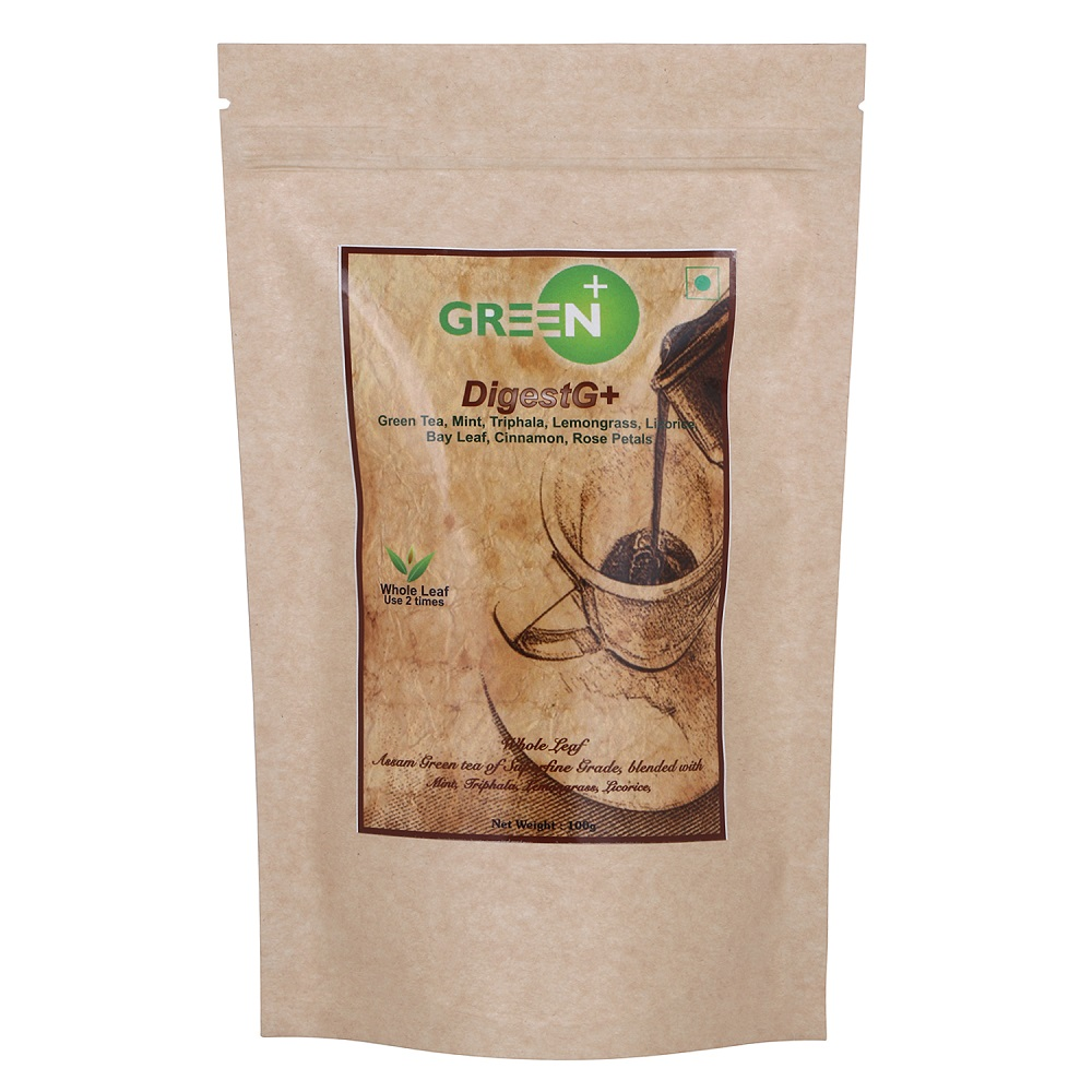 Green+ DigestG+ Herbal Assam Green Tea with Mint, Triphala and other herbs for improving Digestion - 100g Pack